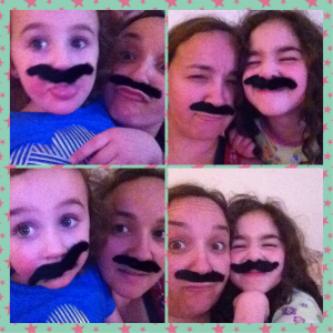 fake moustaches and goofing around