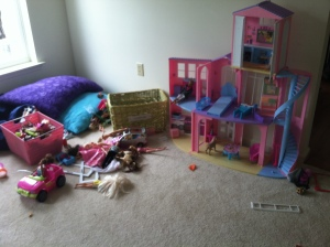 Barbie's messy house